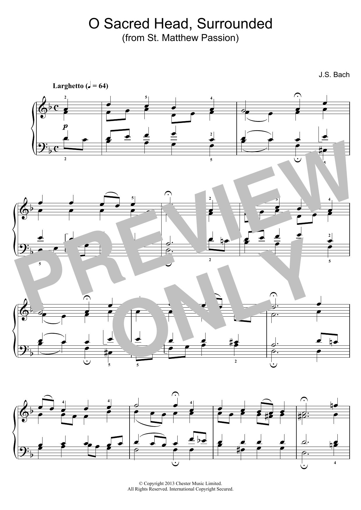 J.S. Bach O Sacred Head, Surrounded (from St Matthew Passion) sheet music preview music notes and score for Piano including 2 page(s)