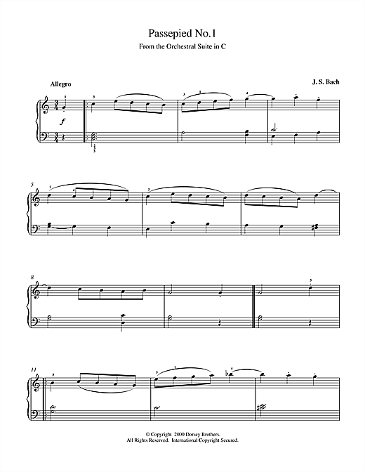 Download J.S. Bach 'Passepied No.1' Digital Sheet Music Notes & Chords and start playing in minutes
