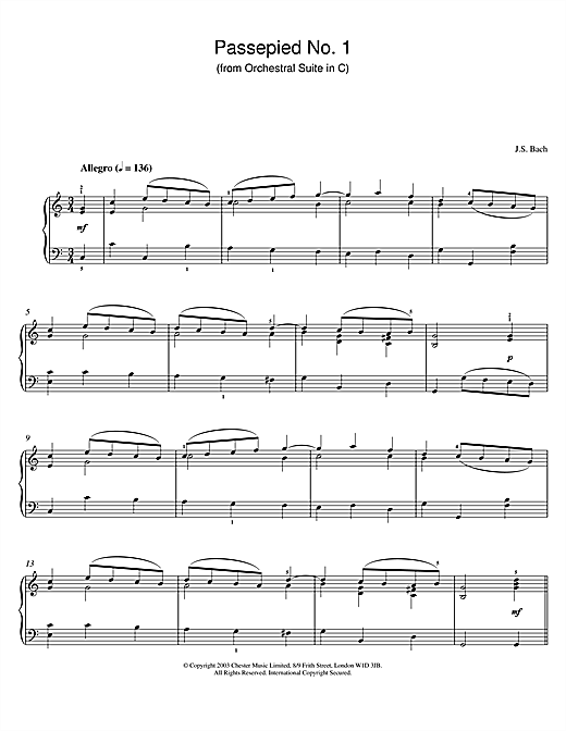 Download J.S. Bach 'Passepied No. 1 (from Orchestral Suite in C)' Digital Sheet Music Notes & Chords and start playing in minutes