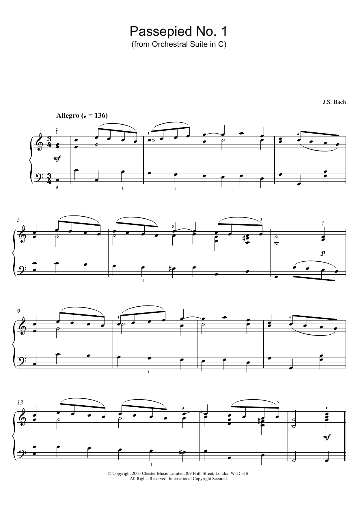J.S. Bach Passepied No. 1 (from Orchestral Suite in C) sheet music preview music notes and score for Piano including 2 page(s)
