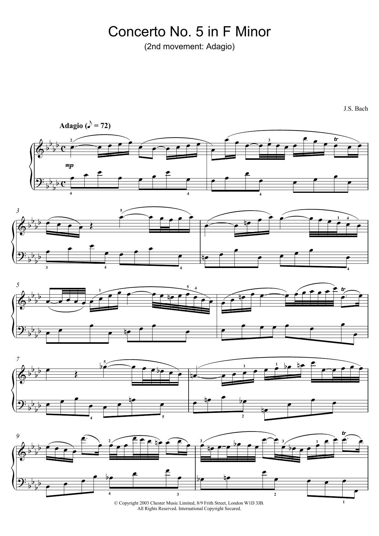 J.S. Bach Piano Concerto No. 5 in F Minor (2nd movement: Adagio) sheet music preview music notes and score for Piano including 2 page(s)