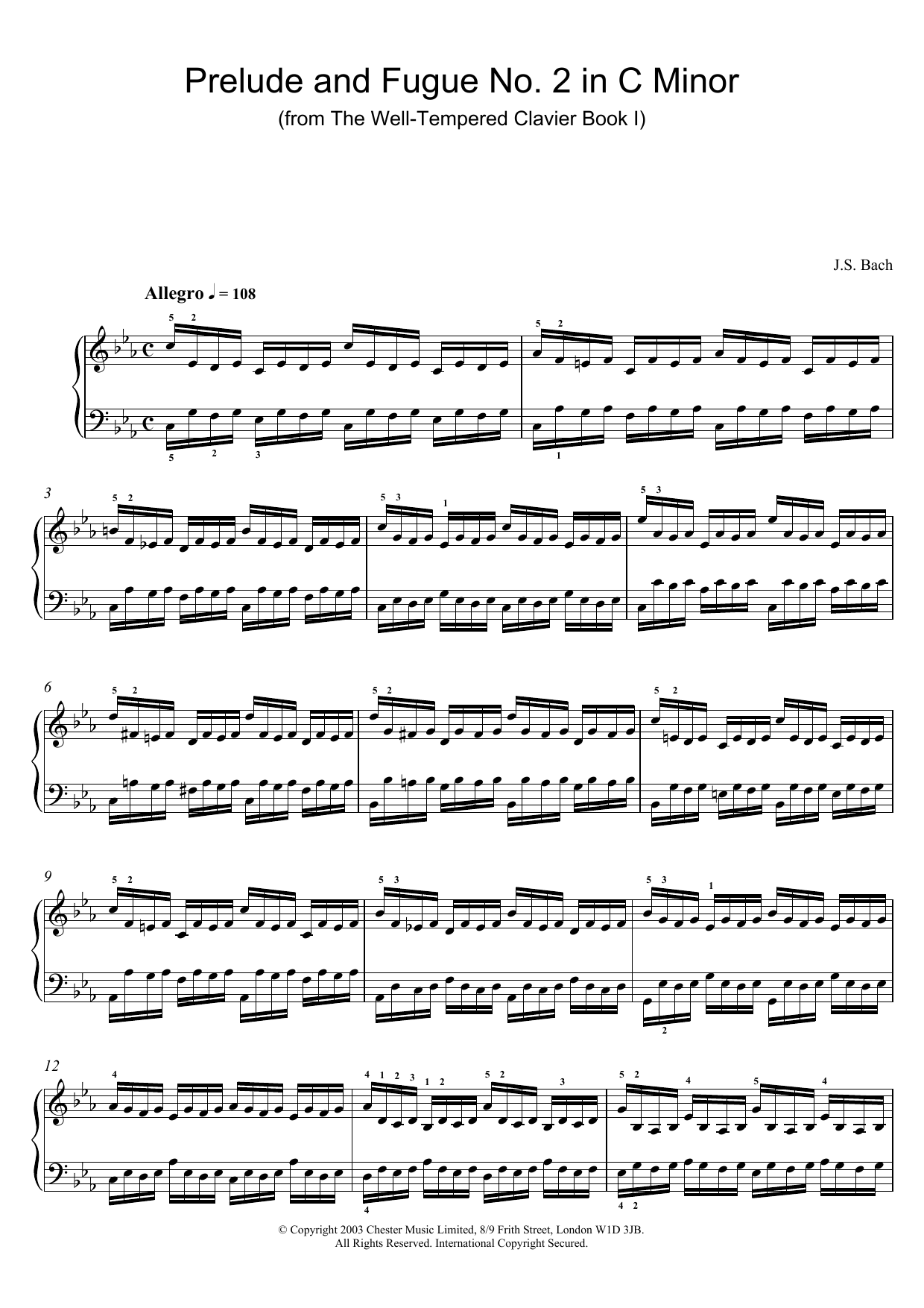 J.S. Bach Prelude and Fugue No.2 in C Minor (from The Well-Tempered Clavier, Bk.1) sheet music preview music notes and score for Piano including 5 page(s)