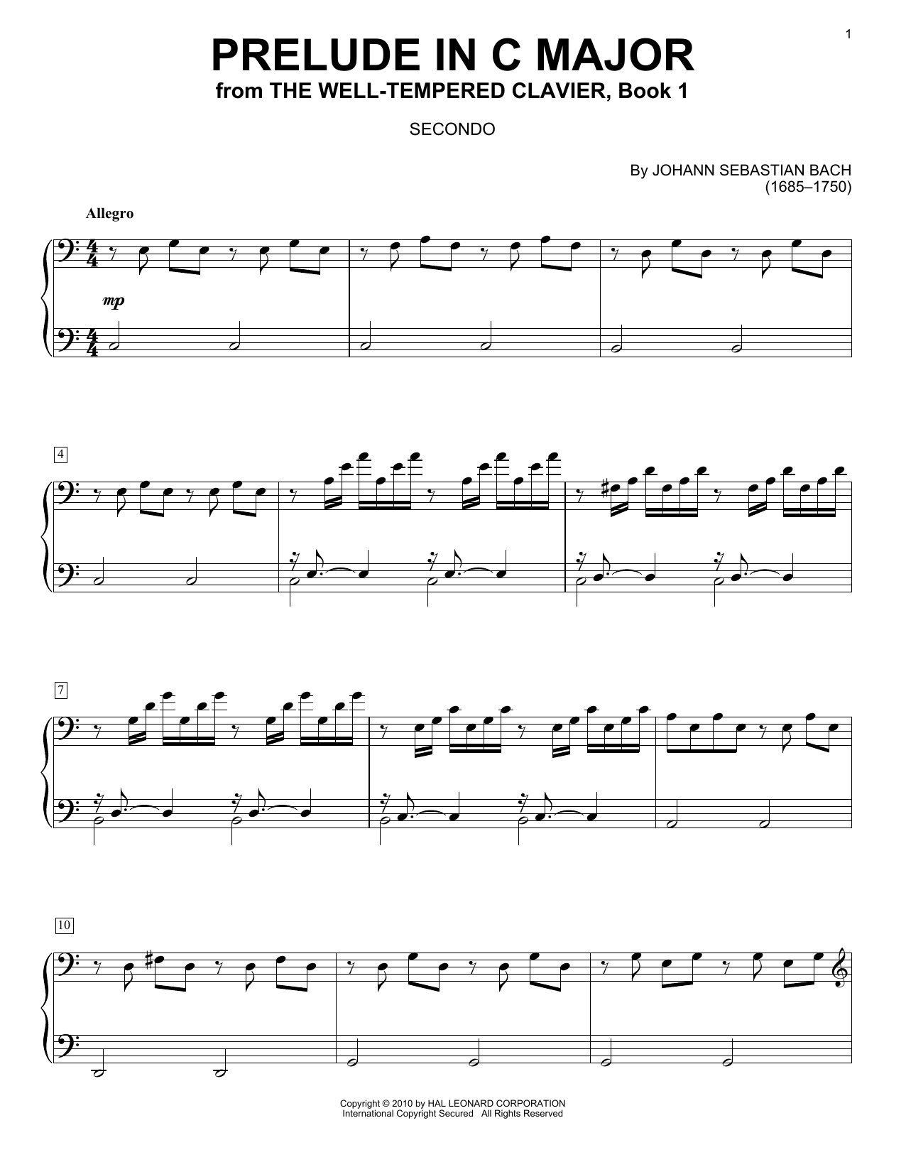 J.S. Bach Prelude In C Major sheet music preview music notes and score for Easy Guitar Tab including 3 page(s)