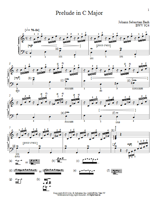 J.S. Bach Prelude In C Major, BMV 924 sheet music preview music notes and score for Piano including 2 page(s)