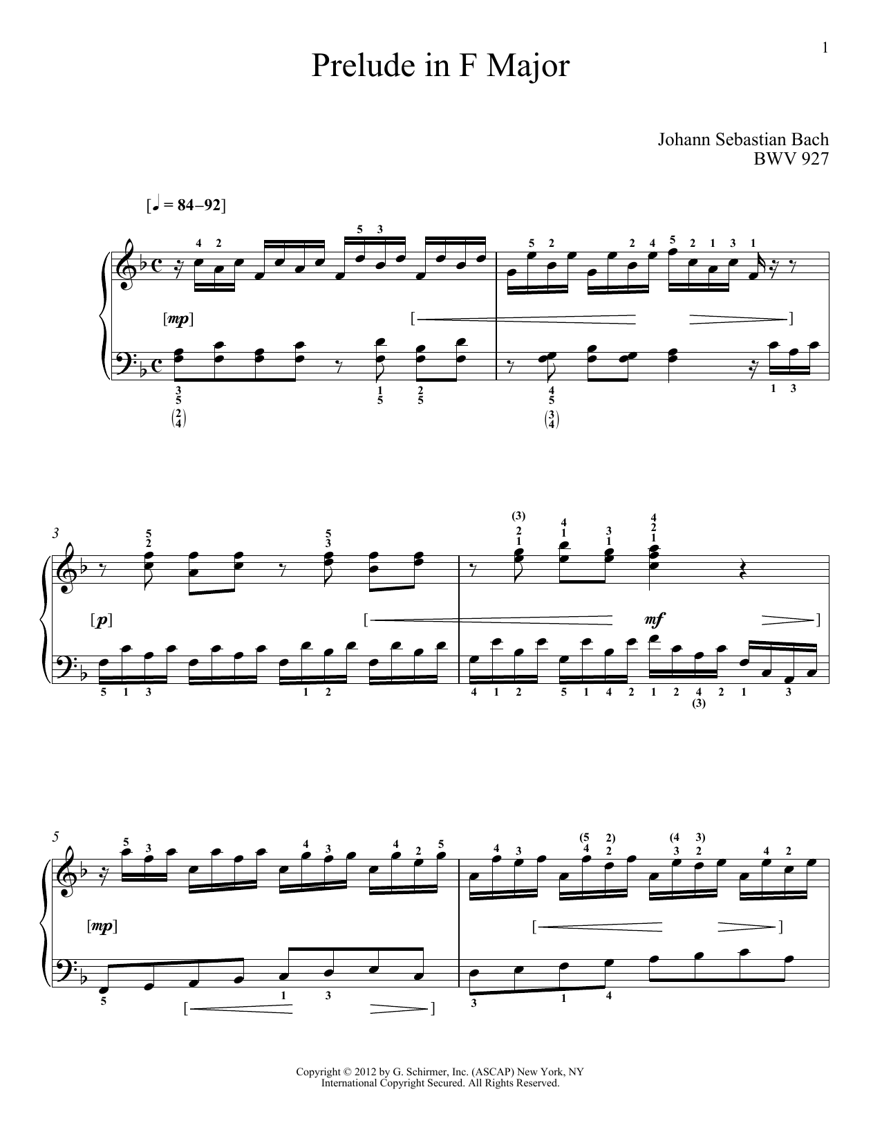Download Johann Sebastian Bach 'Prelude In F Major, BMV 927' Digital Sheet Music Notes & Chords and start playing in minutes