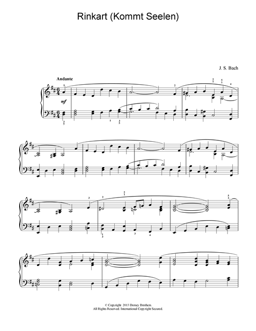 Download J.S. Bach 'Rinkart (Kommt Seelen)' Digital Sheet Music Notes & Chords and start playing in minutes
