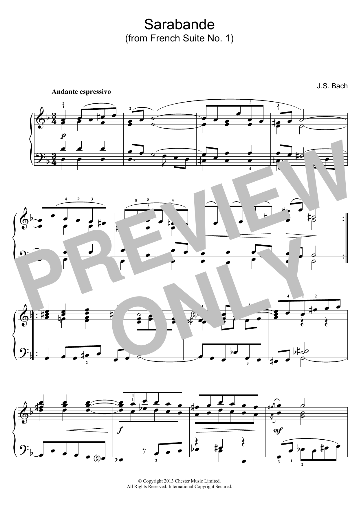J.S. Bach Sarabande (from French Suite No. 1) sheet music preview music notes and score for Piano including 2 page(s)