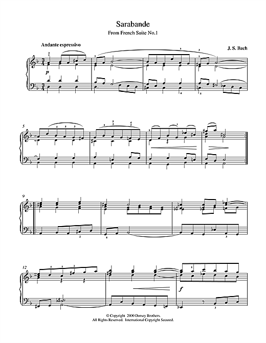 Download J.S. Bach 'Sarabande From Cello Suite in E Flat' Digital Sheet Music Notes & Chords and start playing in minutes