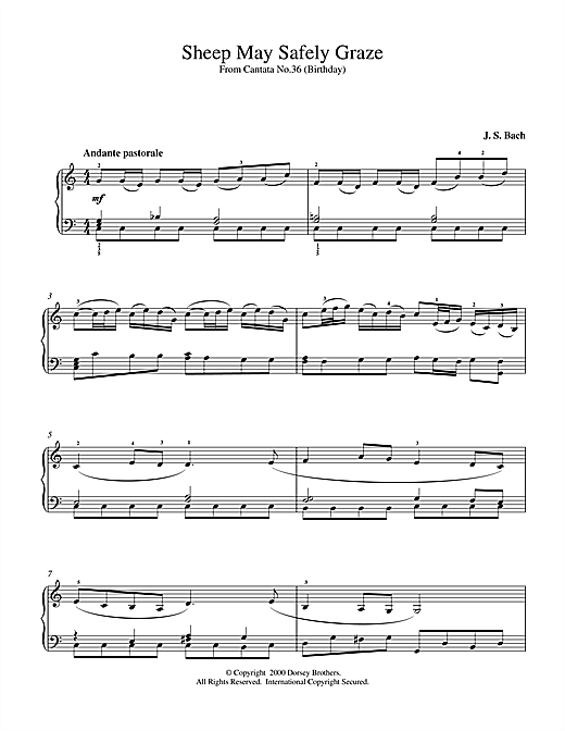 J.S. Bach Sheep May Safely Graze sheet music notes and chords