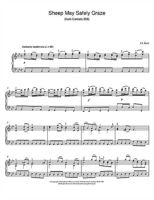 Download J.S. Bach 'Sheep May Safely Graze (from Cantata 208)' Digital Sheet Music Notes & Chords and start playing in minutes