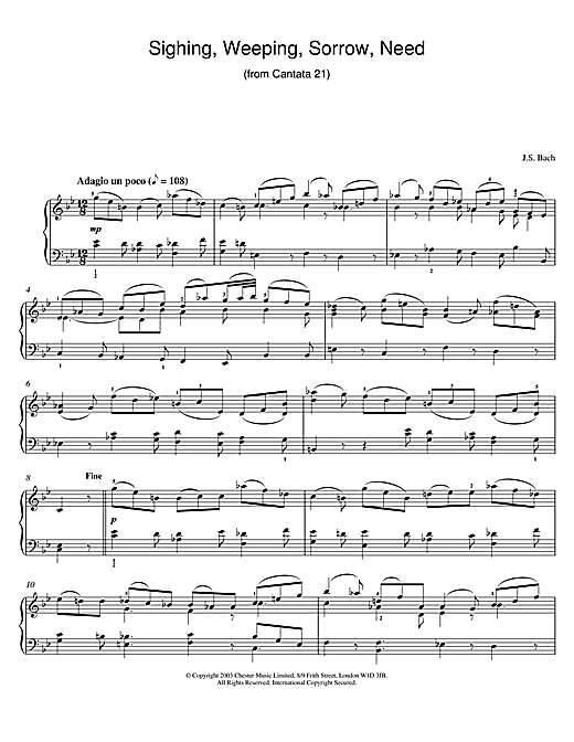 Download J.S. Bach 'Sighing, Weeping, Sorrow, Need (from Cantata 21)' Digital Sheet Music Notes & Chords and start playing in minutes