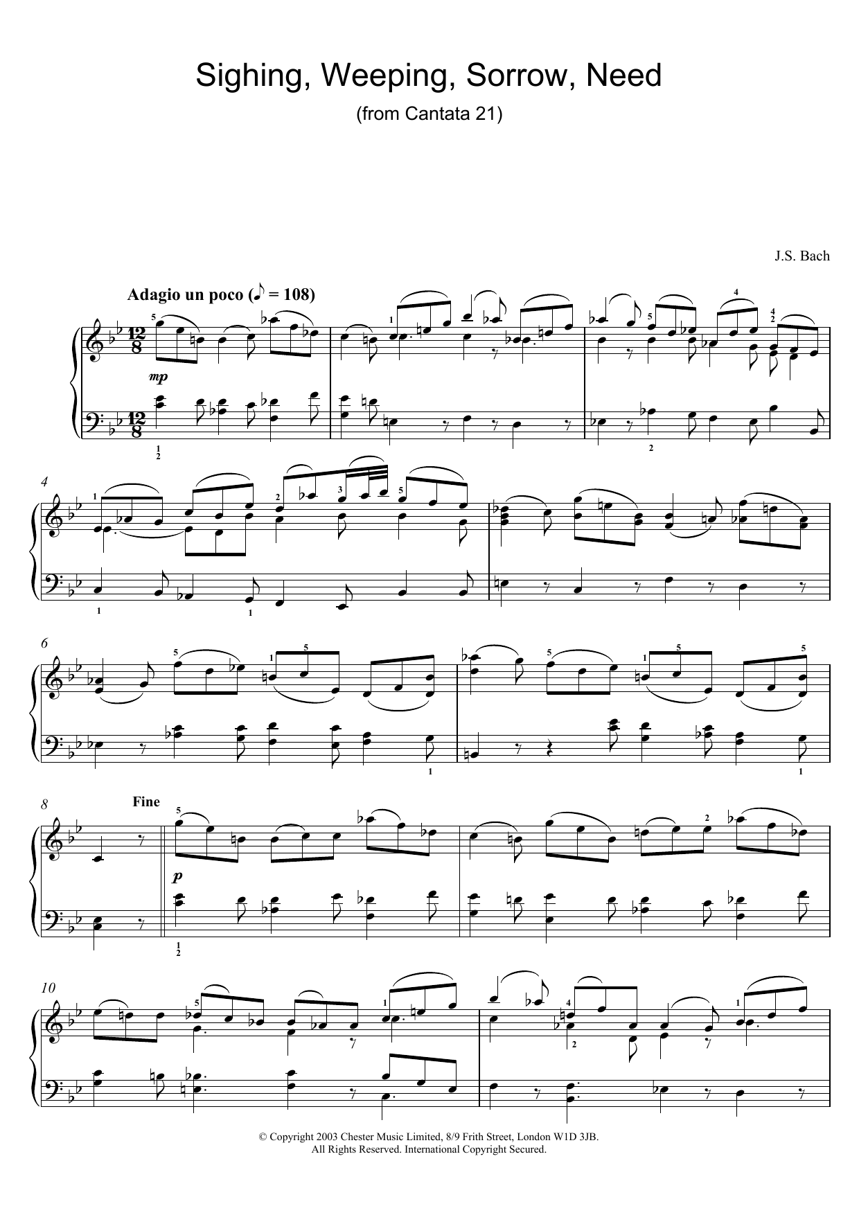 J.S. Bach Sighing, Weeping, Sorrow, Need (from Cantata 21) sheet music preview music notes and score for Piano including 2 page(s)
