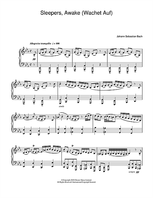 J.S. Bach Sleepers, Awake (Wachet Auf) sheet music notes and chords