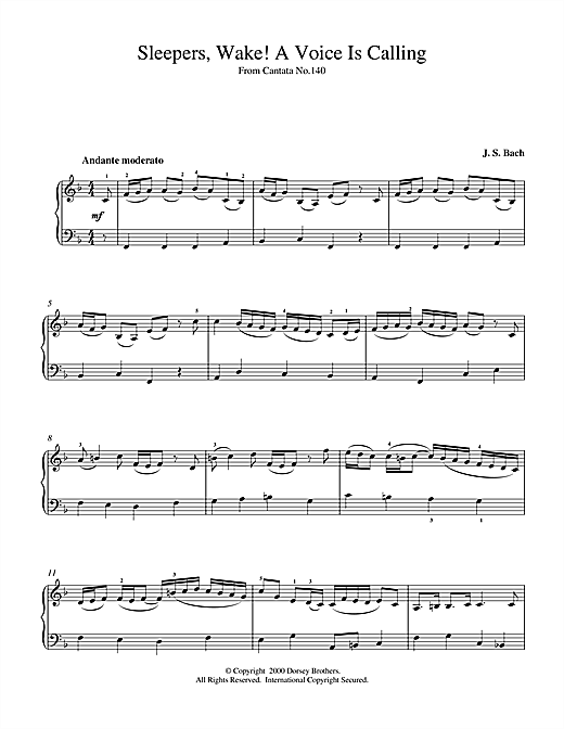 Download J.S. Bach 'Sleepers, Wake! A Voice Is Calling' Digital Sheet Music Notes & Chords and start playing in minutes