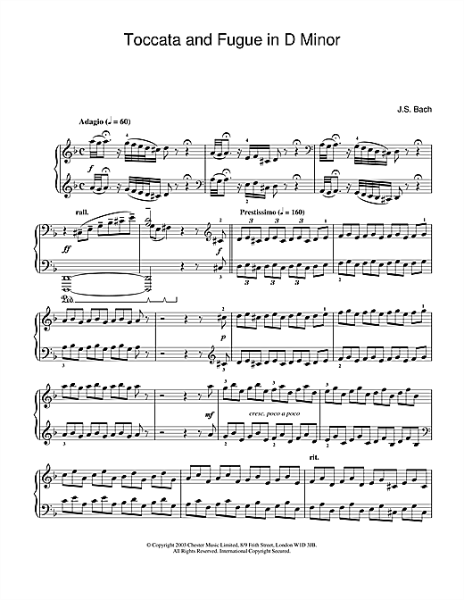 Download J.S. Bach 'Toccata And Fugue In D Minor' Digital Sheet Music Notes & Chords and start playing in minutes