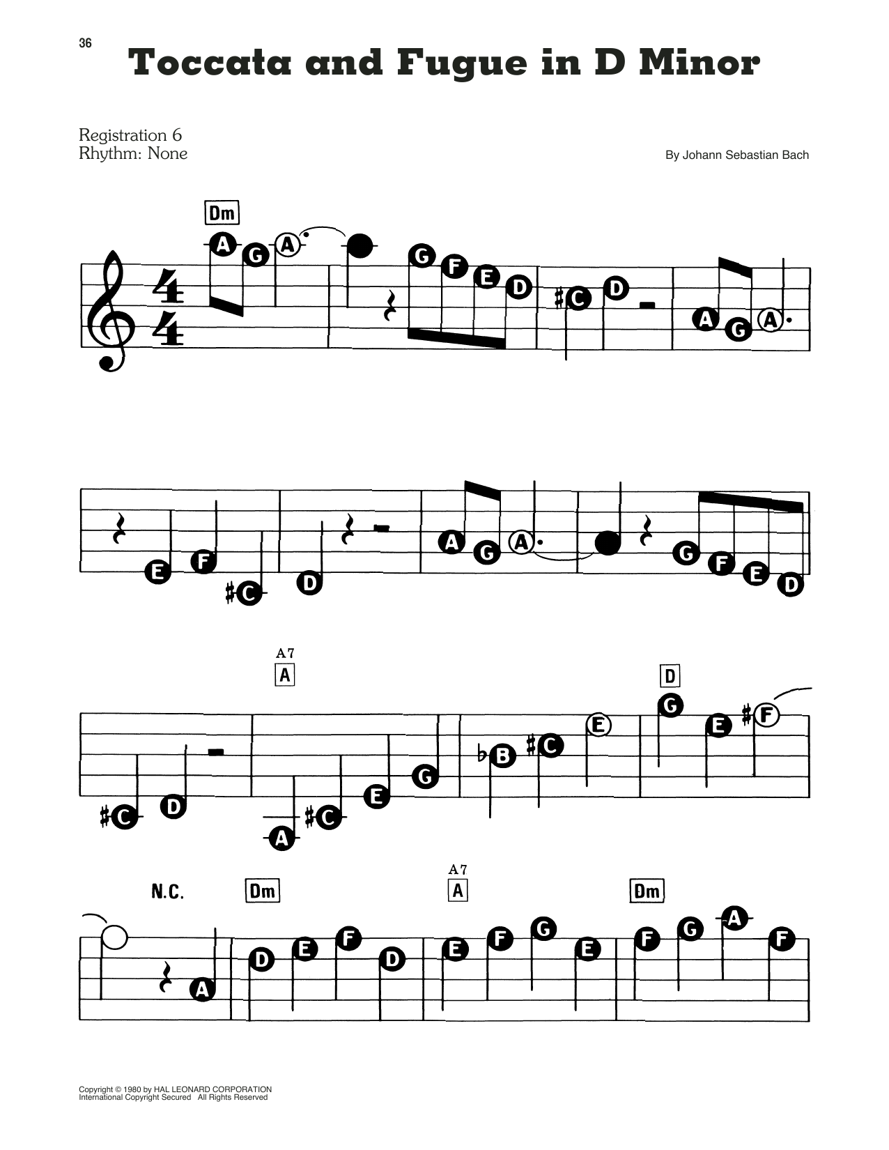 J.S. Bach Toccata and Fugue in D Minor sheet music preview music notes and score for Piano including 6 page(s)