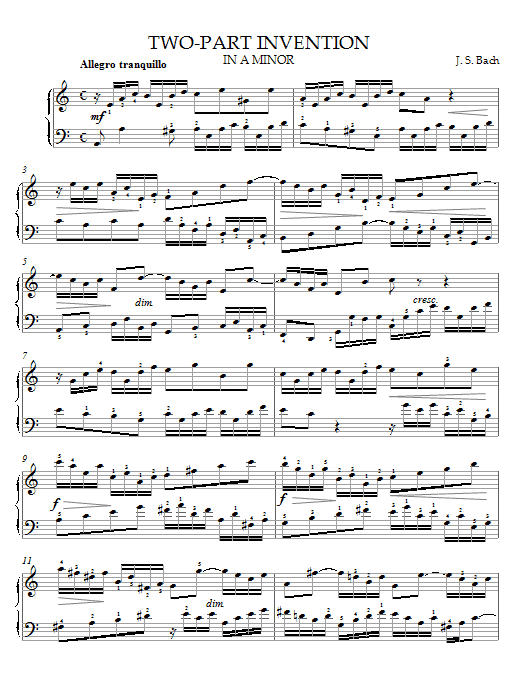 J.S. Bach Two-Part Invention in A Minor sheet music notes and chords