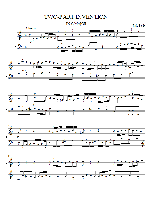 J.S. Bach Two-Part Invention in C Major sheet music notes and chords