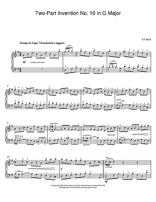 Download J.S. Bach 'Two-Part Invention No. 10 in G Major' Digital Sheet Music Notes & Chords and start playing in minutes