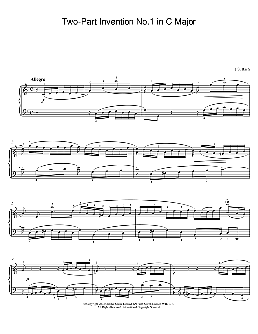 Download J.S. Bach 'Two-Part Invention No.1 in C Major' Digital Sheet Music Notes & Chords and start playing in minutes