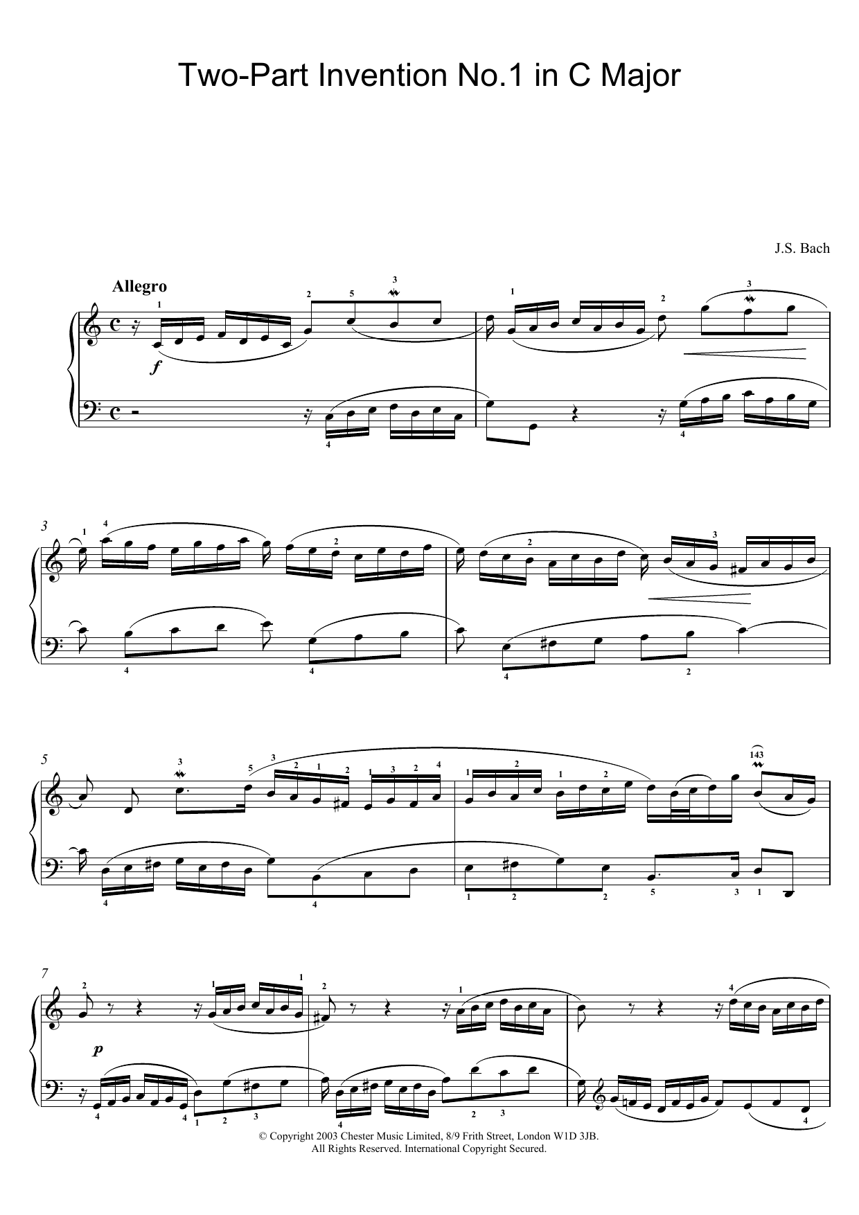 J.S. Bach Two-Part Invention No.1 in C Major sheet music preview music notes and score for Piano including 2 page(s)