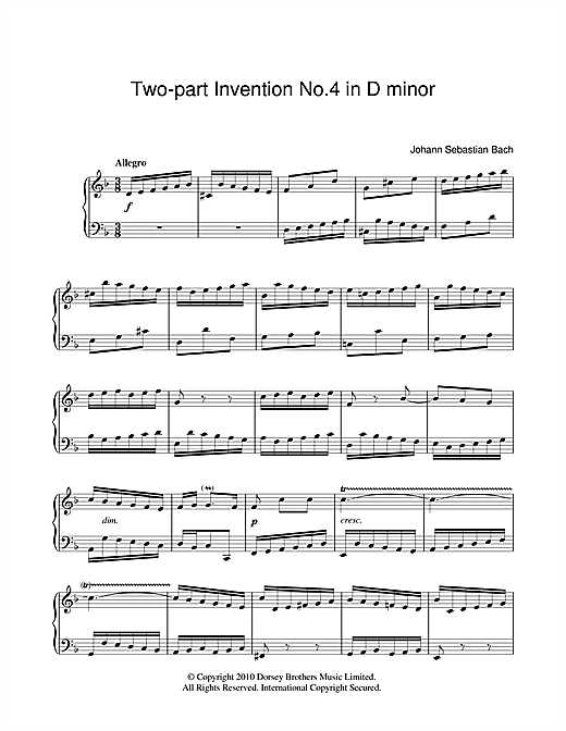 Download J.S. Bach 'Two-Part Invention No. 4' Digital Sheet Music Notes & Chords and start playing in minutes