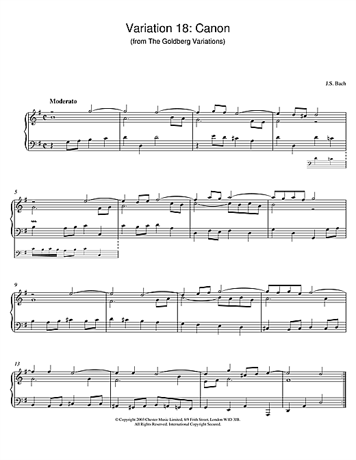 Download J.S. Bach 'Variation 18: Canon (from The Goldberg Variations)' Digital Sheet Music Notes & Chords and start playing in minutes