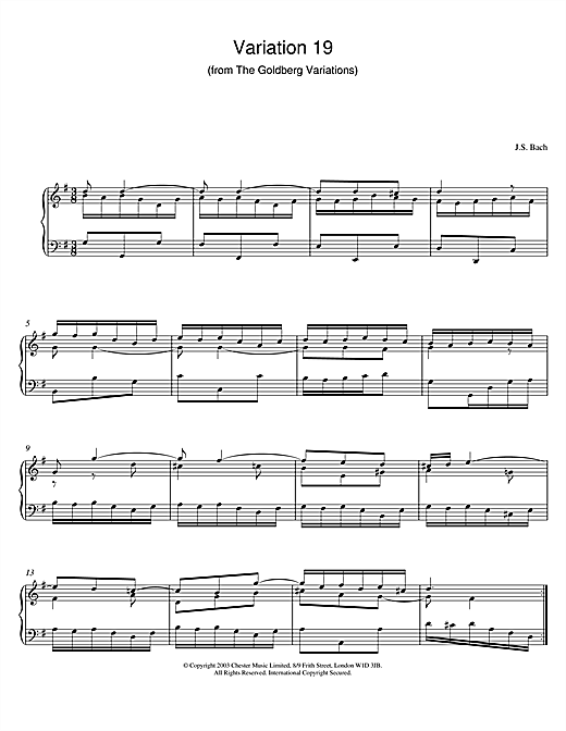 J.S. Bach Variation 19 (from The Goldberg Variations) sheet music notes and chords