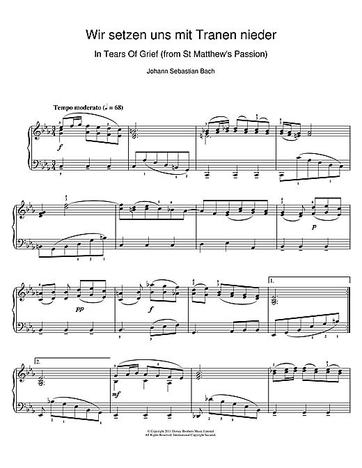 Download J.S. Bach 'Wir setzen uns mit Tranen nieder' Digital Sheet Music Notes & Chords and start playing in minutes