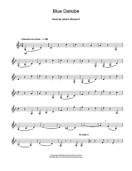 Download Johann Strauss II '(On The Beautiful) The Blue Danube' Digital Sheet Music Notes & Chords and start playing in minutes