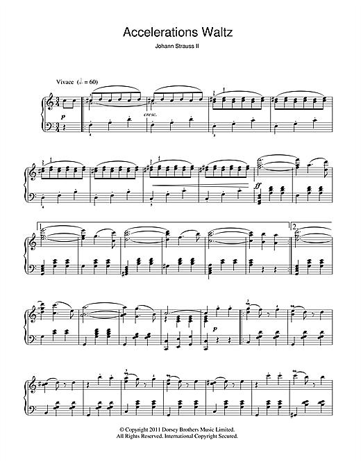 Johann Strauss II Acceleration Waltz, Op. 234 sheet music notes and chords