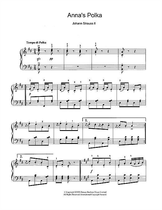Download Johann Strauss II 'Anna's Polka' Digital Sheet Music Notes & Chords and start playing in minutes