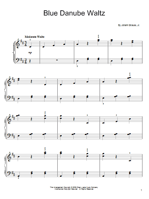 Johann Strauss II By The Beautiful Blue Danube sheet music preview music notes and score for Easy Piano including 2 page(s)
