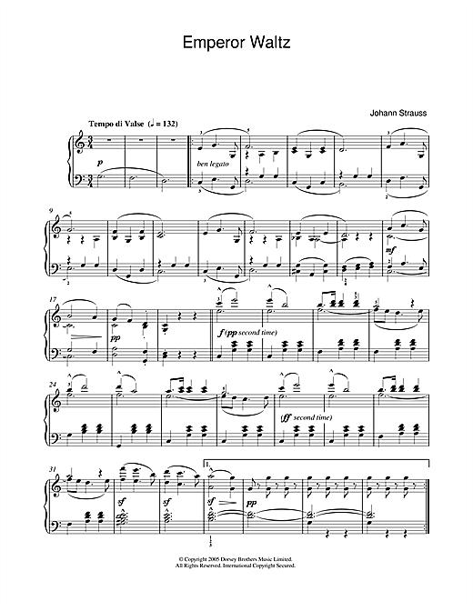 Johann Strauss II Emperor Waltz sheet music notes and chords
