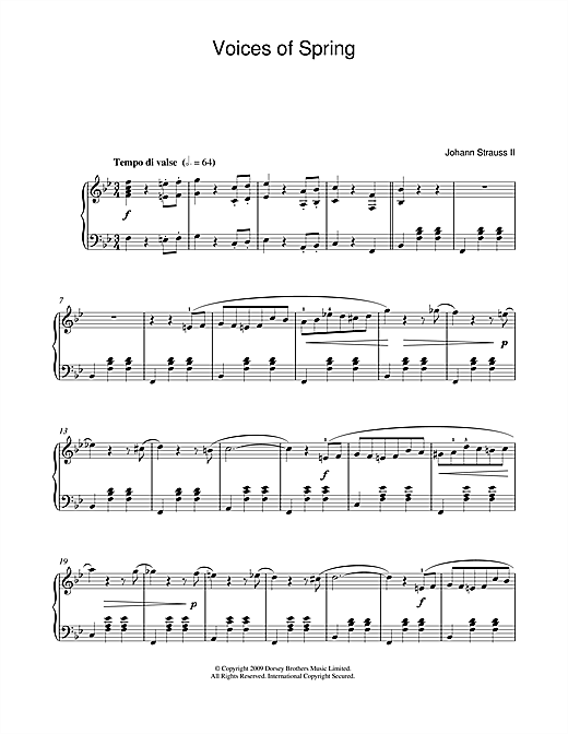 Download Johann Strauss II 'Waltz: Voices Of Spring' Digital Sheet Music Notes & Chords and start playing in minutes