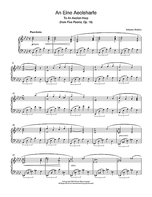 Download Johannes Brahms 'An Eine Aeolsharfe (from Five Poems, Op. 19)' Digital Sheet Music Notes & Chords and start playing in minutes