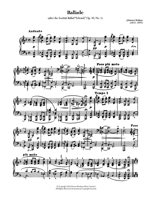 Download Johannes Brahms 'Ballade, Op.10 No.1' Digital Sheet Music Notes & Chords and start playing in minutes