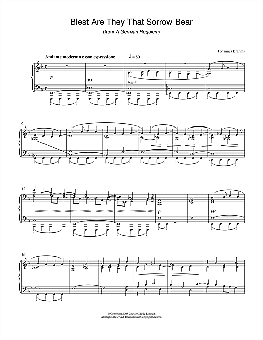 Download Johannes Brahms 'Blest Are They That Sorrow Bear (from A German Requiem)' Digital Sheet Music Notes & Chords and start playing in minutes