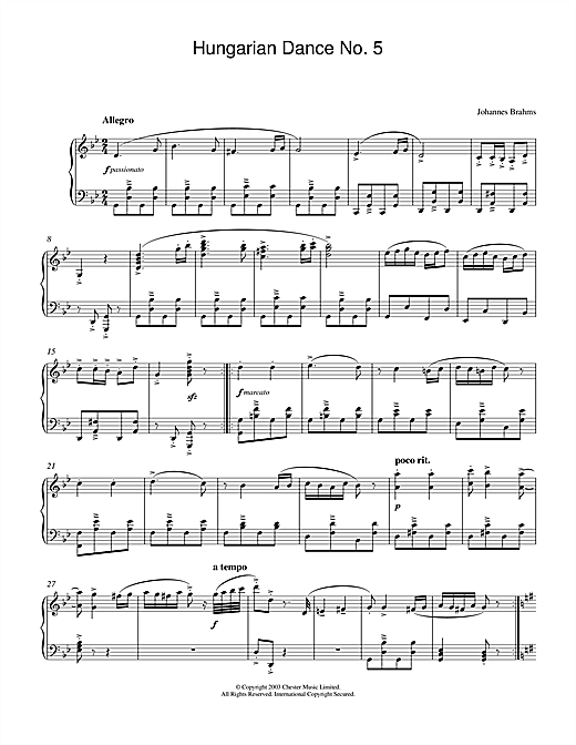 Download Johannes Brahms 'Hungarian Dance No.5' Digital Sheet Music Notes & Chords and start playing in minutes