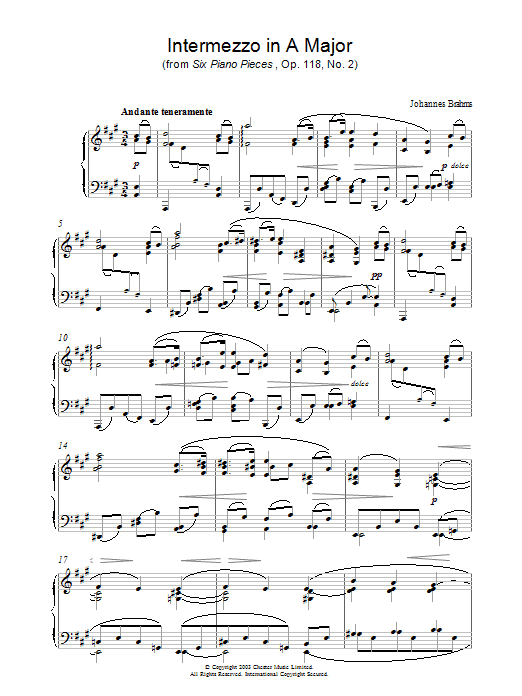 Johannes Brahms Intermezzo in A Major (from Six Piano Pieces, Op. 118, No. 2) sheet music preview music notes and score for Piano including 5 page(s)