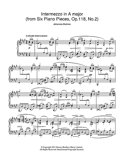 Download Johannes Brahms 'Intermezzo In A Major Op. 118 No. 2' Digital Sheet Music Notes & Chords and start playing in minutes