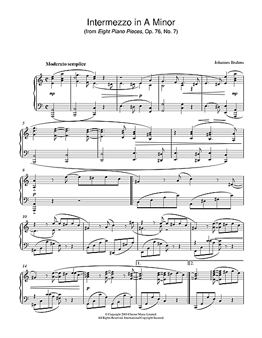 Download Johannes Brahms 'Intermezzo in A Minor (from Eight Piano Pieces, Op. 76, No. 7)' Digital Sheet Music Notes & Chords and start playing in minutes