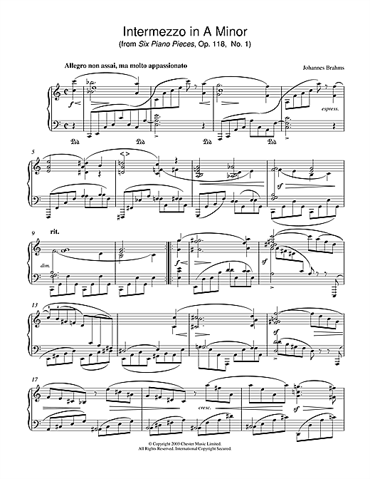 Download Johannes Brahms 'Intermezzo in A Minor (from Six Piano Pieces, Op. 118, No. 1)' Digital Sheet Music Notes & Chords and start playing in minutes
