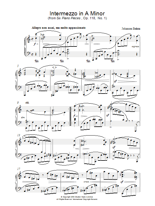 Johannes Brahms Intermezzo in A Minor (from Six Piano Pieces, Op. 118, No. 1) sheet music preview music notes and score for Piano including 2 page(s)