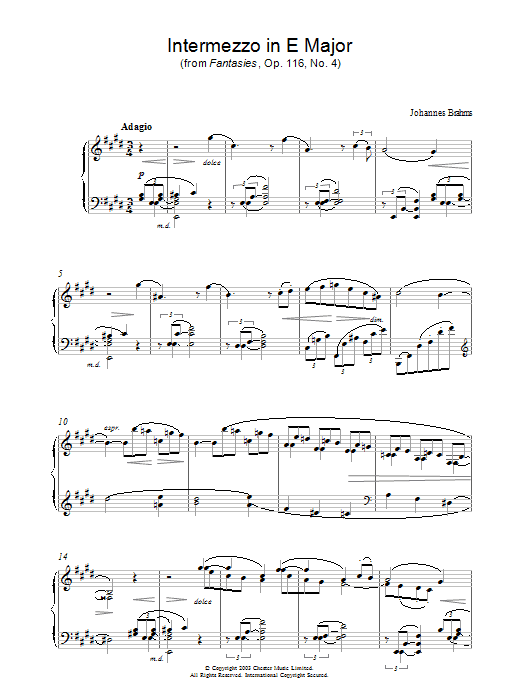 Johannes Brahms Intermezzo in E Major (from Fantasies, Op. 116, No. 4) sheet music preview music notes and score for Piano including 4 page(s)