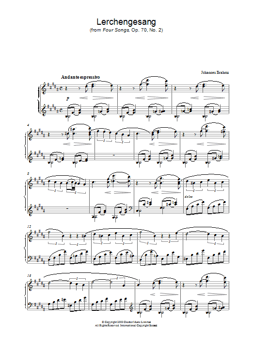 Johannes Brahms Lerchengesang (from Four Songs, Op. 70, No. 2) sheet music preview music notes and score for Piano including 2 page(s)