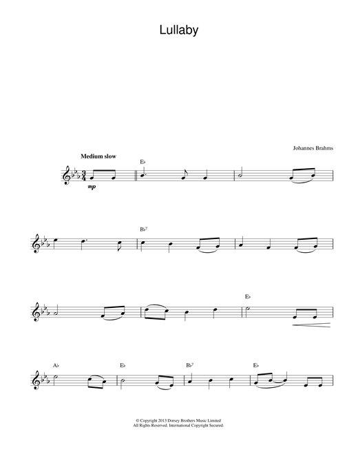Johannes Brahms Lullaby sheet music preview music notes and score for Piano Duet including 2 page(s)