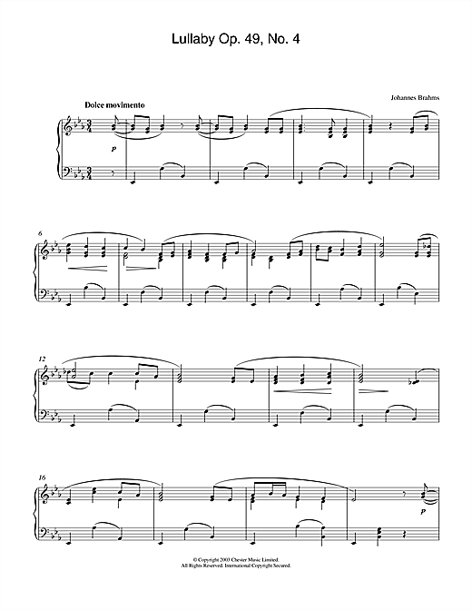 Download Johannes Brahms 'Lullaby Op. 49, No. 4' Digital Sheet Music Notes & Chords and start playing in minutes