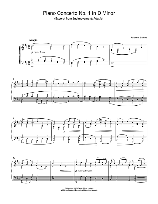Download Johannes Brahms 'Piano Concerto No. 1 in D Minor (Excerpt from 2nd movement: Adagio)' Digital Sheet Music Notes & Chords and start playing in minutes