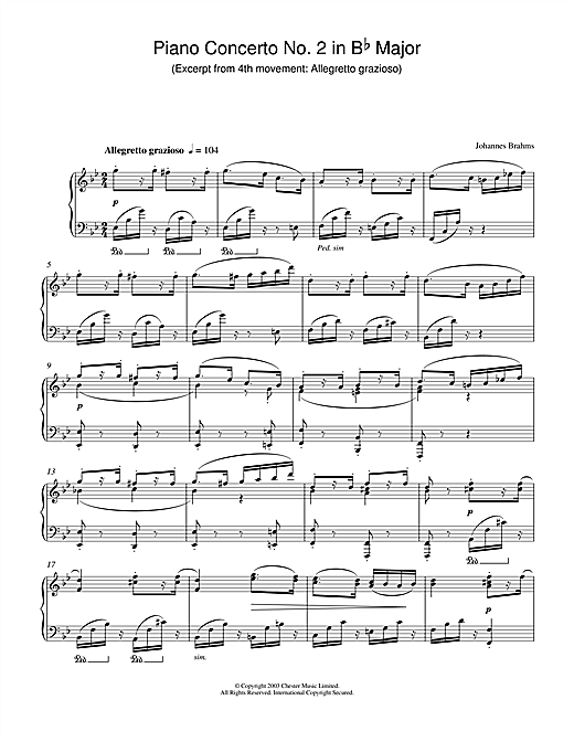 Johannes Brahms Piano Concerto No. 2 in B Flat Major (Excerpt from 4th movement: Allegretto grazioso) sheet music notes and chords